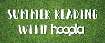 Summer Reading Hoopla with a grass background
