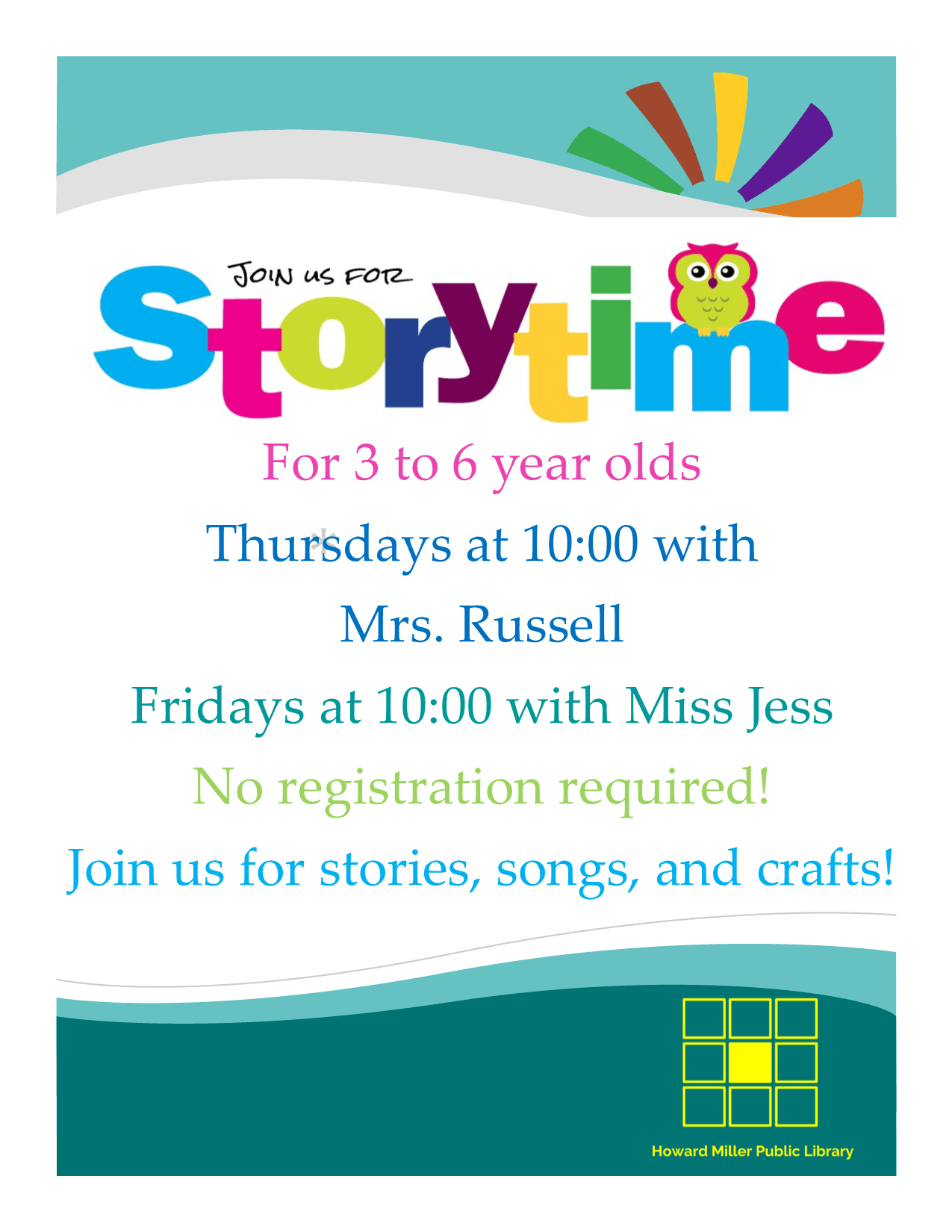 preschool storytime 2018 information Thursdays and Fridays at 10 AM