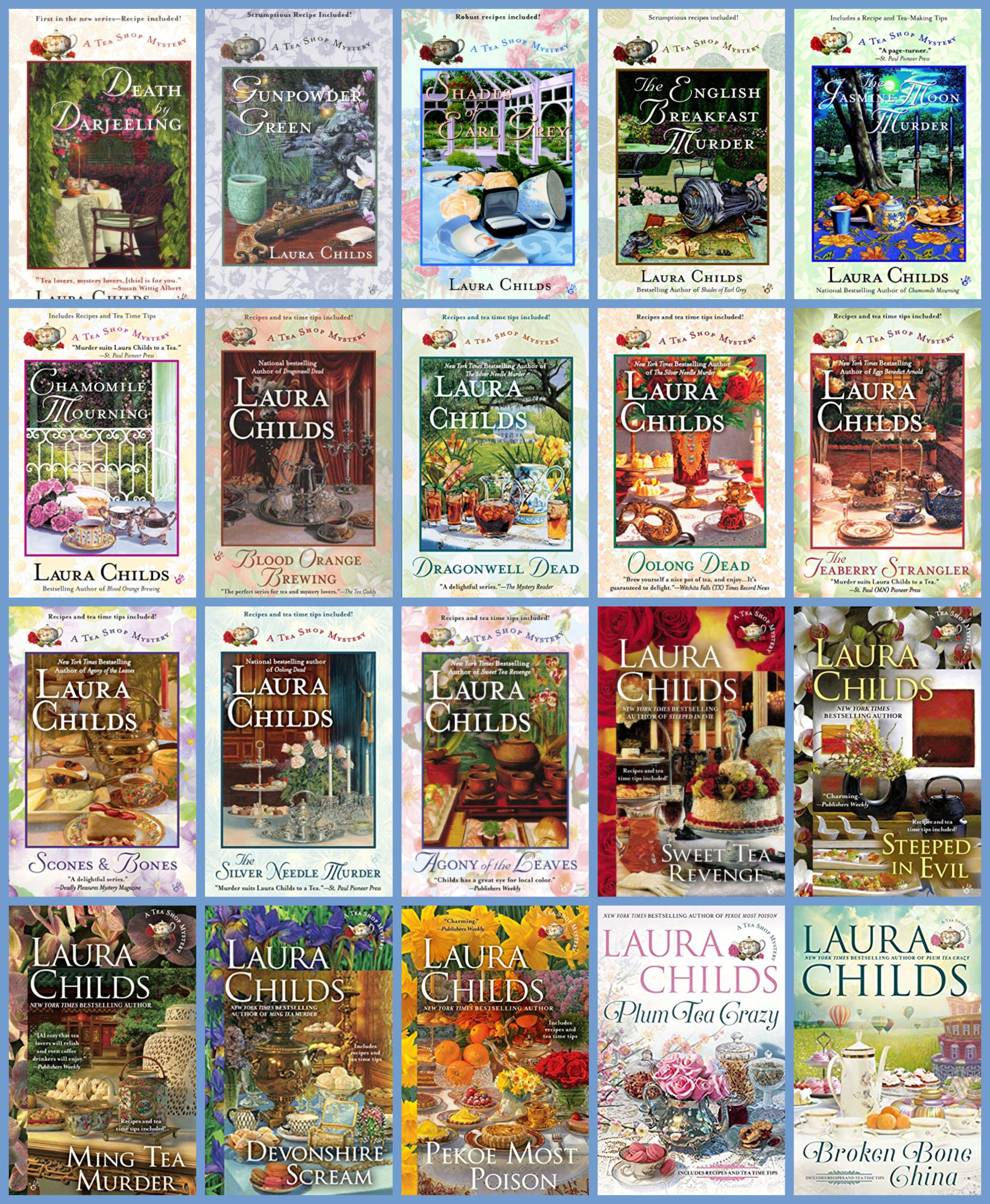 Tea Shop Mysteries 20 book collage Square