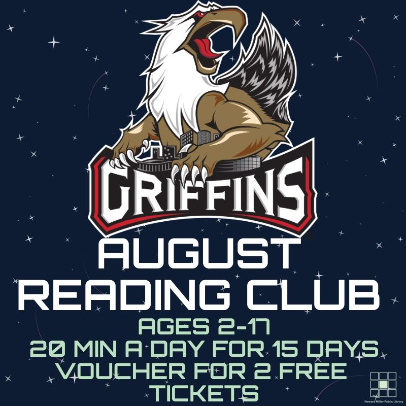 August 2019 Reading Club Post For ages 2 to 17 read for 20 minutes a day for 15 days to win a vouche