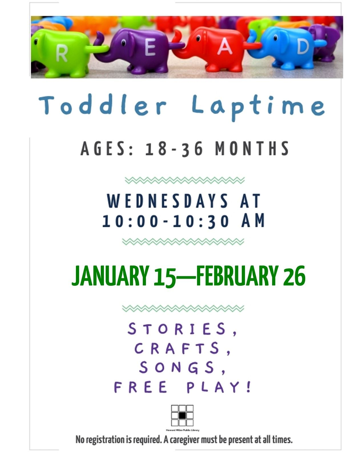 Toddler Laptime January and February 2020 Wednesdays at 10 AM