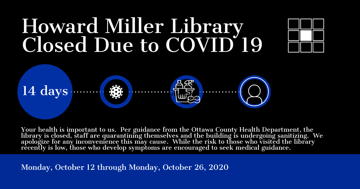 Library Temporarily Closed until October 27 2020 due to COVID 19